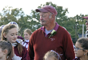 Coach Flately pictured at  halftime during the  October 2015 Homecoming football game