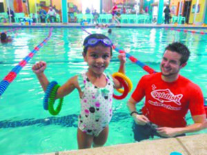 Children ages four months to 12 years will be taught to swim by one of the Garden City Goldfish School's 30 instructors.