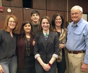 Dessie DiMino (center) with several board members of the Garden City Friends of STEM (GCFS), sponsor of the talk series.
