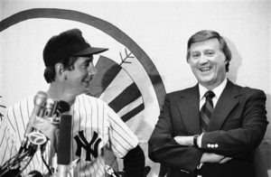 Billy Martin (left) and George Steinbrenner after the 1975 Old Timer's Day