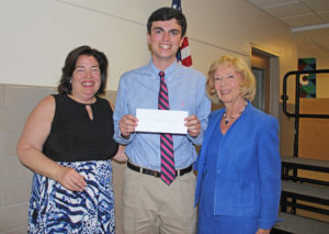From left; Garden City Foundation President Susan MacDonald; scholarship winner Thomas Van Noy and Foundation secretary Althea Robinson.