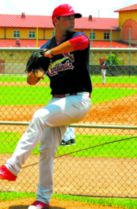 The young pitcher on the mound for the Cardinals. (Photos by the Mulford family)