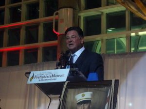 Stew Leonard, Jr. accepting his Badge of Courage award at the Nassau County Firefighters Museum and Education Center.  (Photo by Chris Boyle)