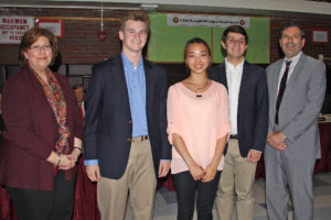 The recipients Andrew Nagel (center, left), Seunghyun Woo (center) and James Rumsey (center, right) are pictured with Board President Angela Heineman and Superintendent of Schools Robert Feirsen. Missing from photo are Suzanne Sanossian and Mairead Pfaff.