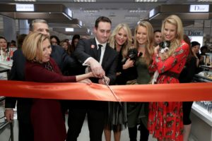 From left: Lord & Taylor president Liz Rodbell, Garden City Mayor Nicholas Episcopia and Lord & Taylor Garden City Store Manager Tim Catalano cut the ribbon as Christie Brinkley, Sailor Brinkley Cook and Beth Ostrovsky Stern look on. (Photo by Cindy Ord/Getty Images for Lord & Taylor)